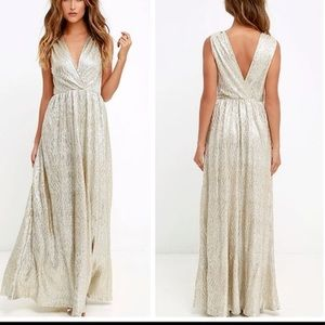Lulus all the shimmers is gold maxi dres
